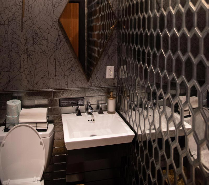 Image of bathroom of Prime restaurant designed by Anastasios Interiors