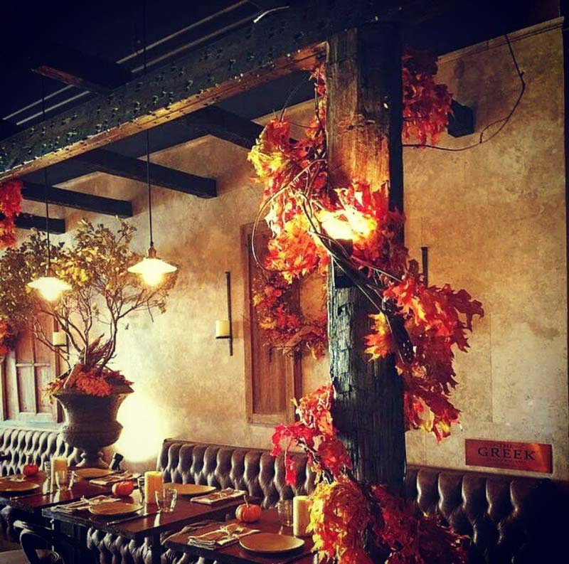 Interior of the Greek Restaurant decorated for the Fall by Anastasios Interiors