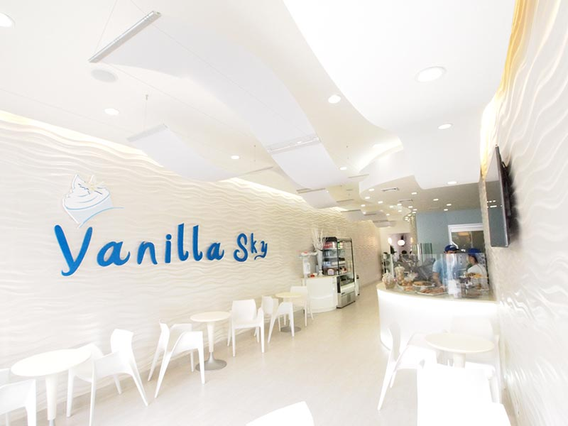 image of commercial interior design project - Vanilla sky frozen yogurt restaurant - by Anastasios Interiors